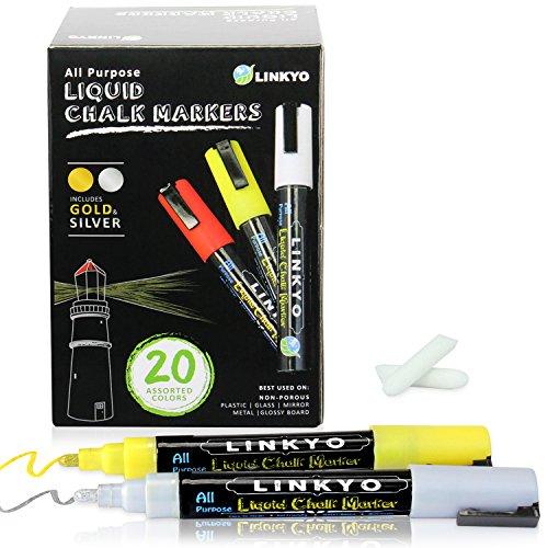 LINKYO Wet Erase Liquid Chalk Marker Pens, 20 ()