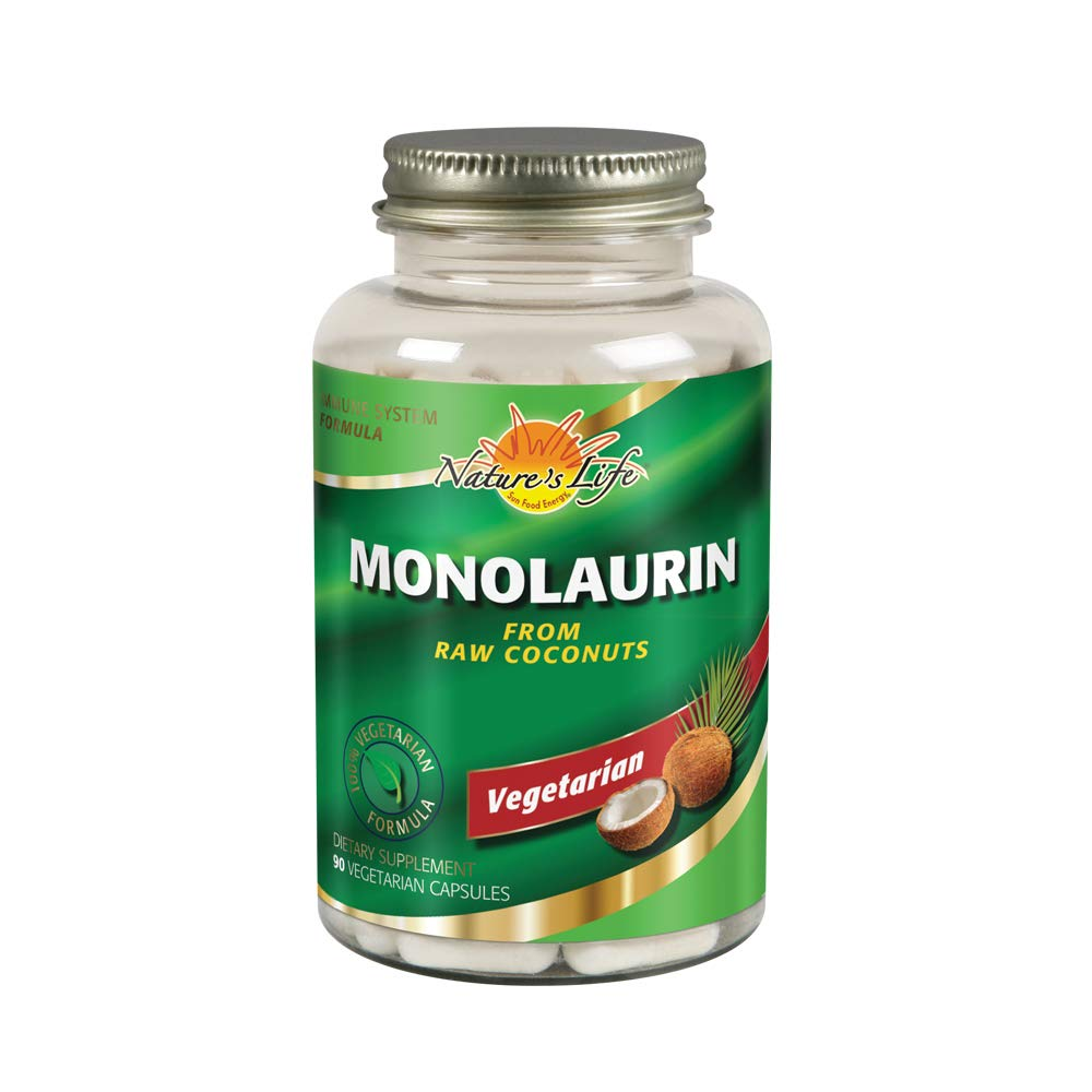 Nature's Life Monolaurin Capsules, 990 mg | Vegetarian | Support for Healthy Immune Function & Digestion | Optimal Wellness Benefits | 90 ct