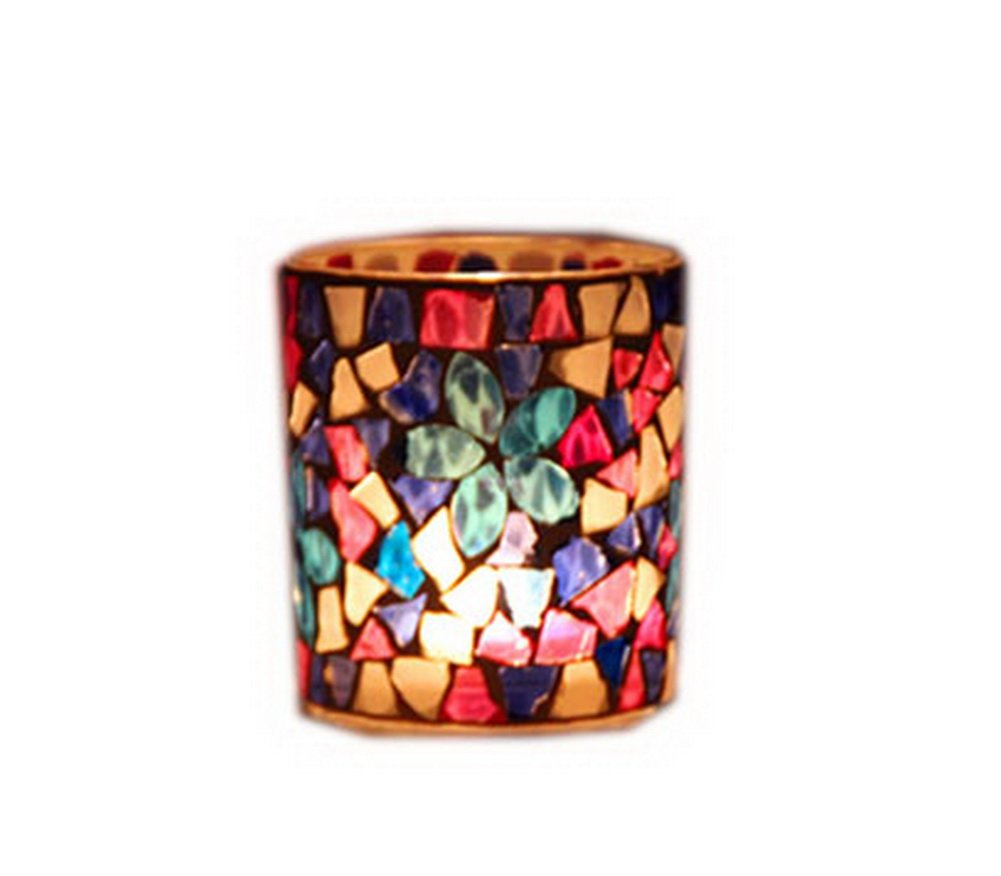 Set of 2 Colorful Mosaic Candle Holders Crystal Tea Light Holders Blue PANDA SUPERSTORE PS-HOM15704041-EMILY02327