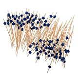 Fenteer Pieces of 100 Star Bamboo Catering Paddle Finger Food Sticks Wedding Party Cocktail Picks - Blue, One Size