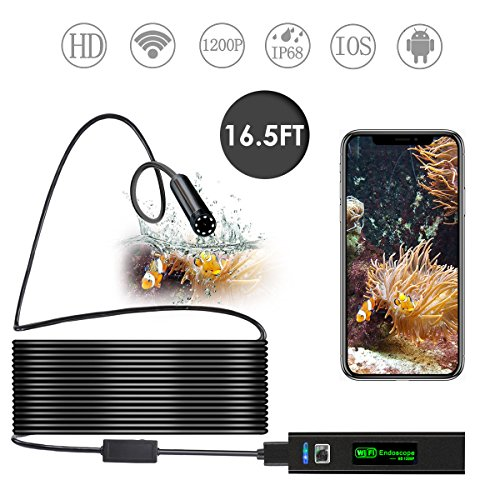 Minuano Wireless Endoscope 1200P HD WiFi Borescope 8mm Inspection Camera IP68 Waterproof 8 LED for IOS Android iPhone Mac Windows (16.5FT)