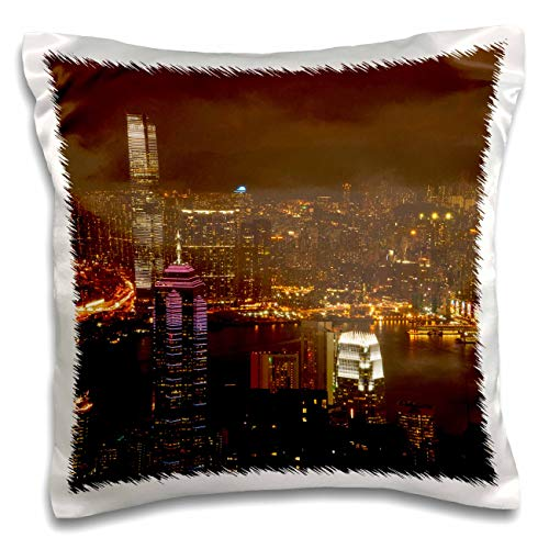 3dRose Danita Delimont - Hong Kong - Kowloon, Victoria Harbor, Central, from Victoria Peak, Hong Kong. - 16x16 inch Pillow Case (pc_312605_1)