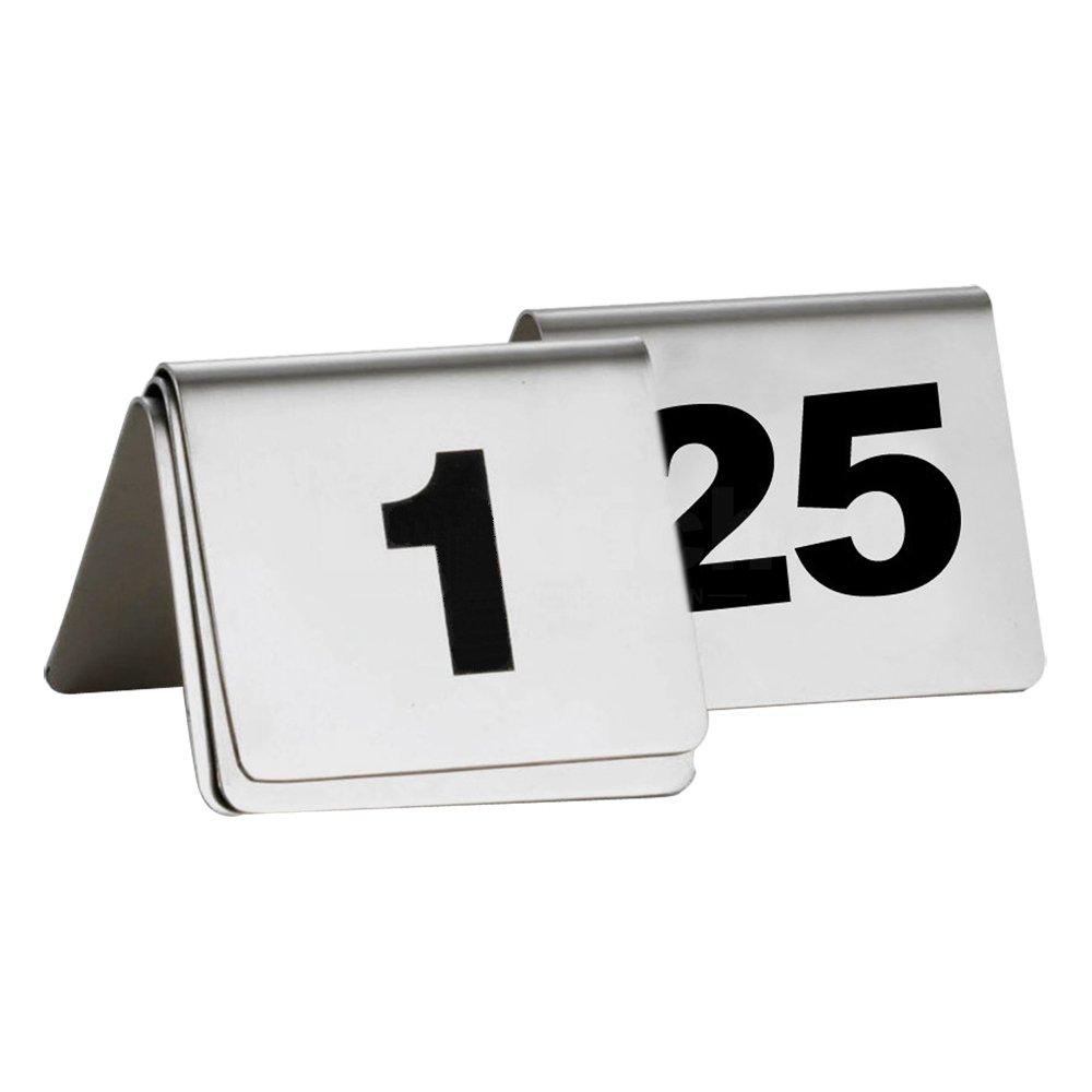 MyLifeUNIT Número de mesa Sign, acero inoxidable signos de mesa para Banquete de Boda, 5x 4x 5cm, acero inoxidable, Plateado, number 1 to 10