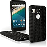 iGadgitz Black Tyre Tread Silicone Rubber Gel Skin Case Cover for LG Nexus 5X + Screen Protector