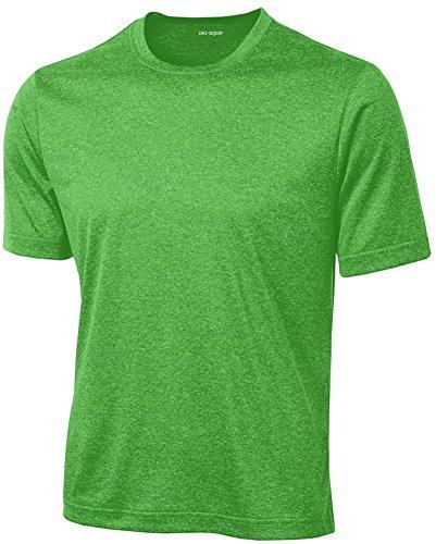 DRIEQUIP Men's Short Sleeve Moisture Wicking T-Shirt-TurfGreenHeather-L (Sleeveless Tech Shirt)