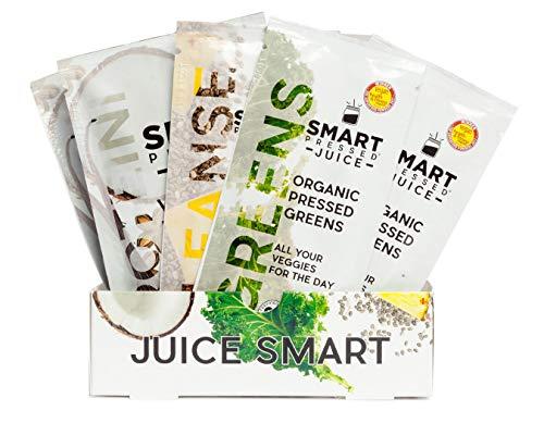 Smart Pressed Juice 1-Day Organic Juice Cleanse | Healthy Weight Loss & Detox Program | Vegan Vanilla Protein, Green Juice, Beets Juice & Pineapple Chia Cleanse | High Fiber & Vegan