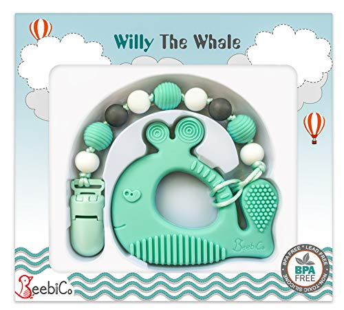 Pacifier Clip Holder Set - Baby Teething Toys - Highly Effective Whale Teether Silicone Chew Beads for Babies - Unique Gender Neutral - Perfect Present for Newborn