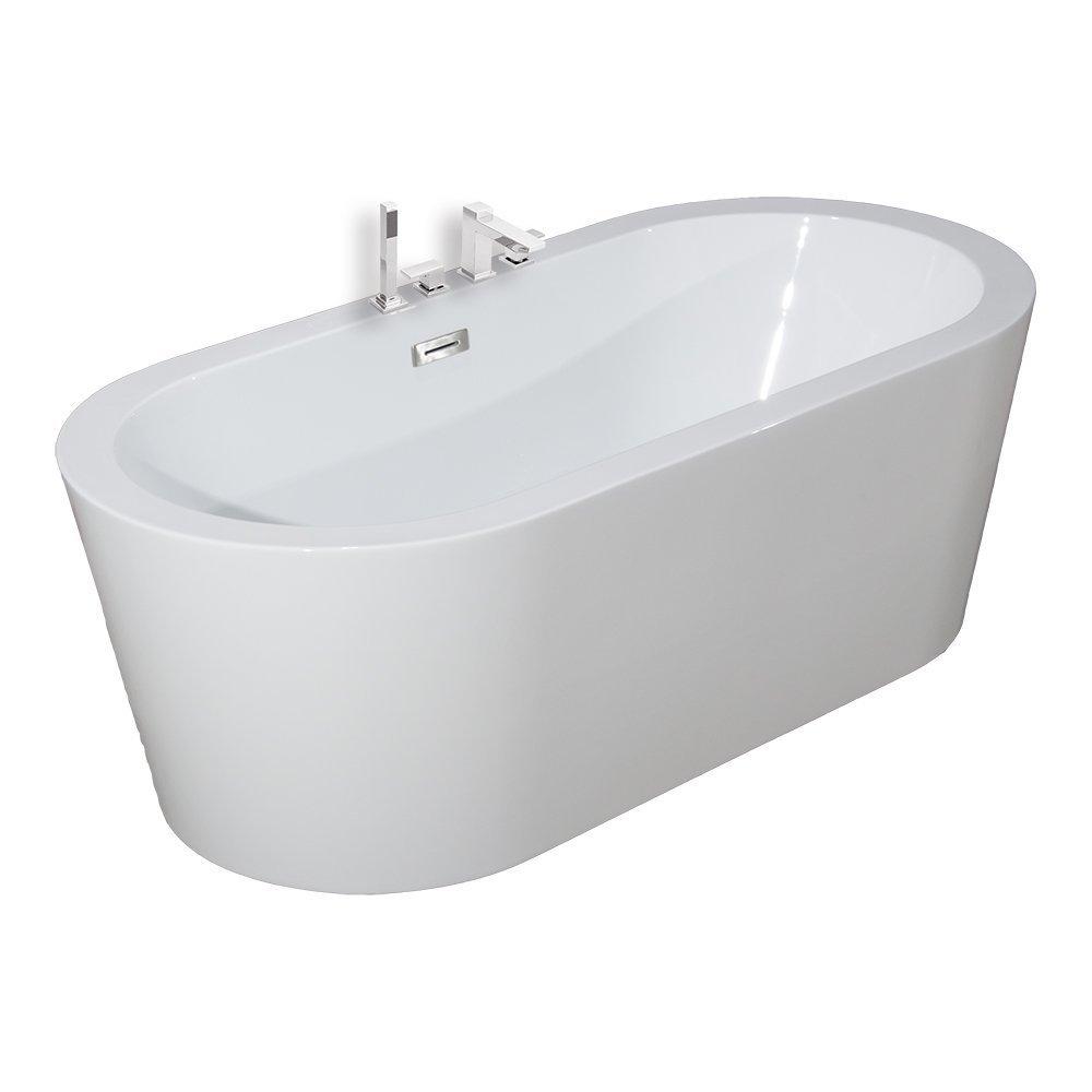 Woodbridge Freestanding Bathtub, 100% Acrylic Bath Tub, High Glossy White, with Brushed Nickel Overflow, B-0002