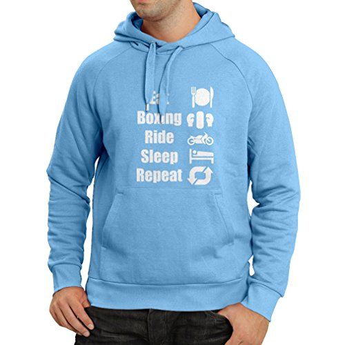 lepni.me Sudadera con Capucha Eat Boxing Ride Sleep Repeat - Motivational Sports Quotes (Small Azul Blanco)