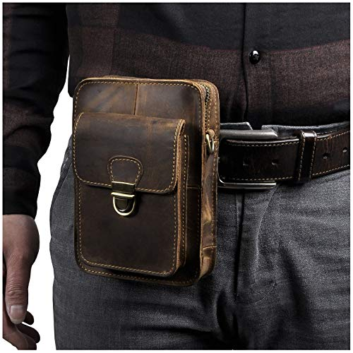 (Le'aokuu Mens Leather Fashion Designer Casual Messenger Shoulder Bag Organizer Hunting Fanny Waist Belt Bag Pack (The 6401 Brown) )