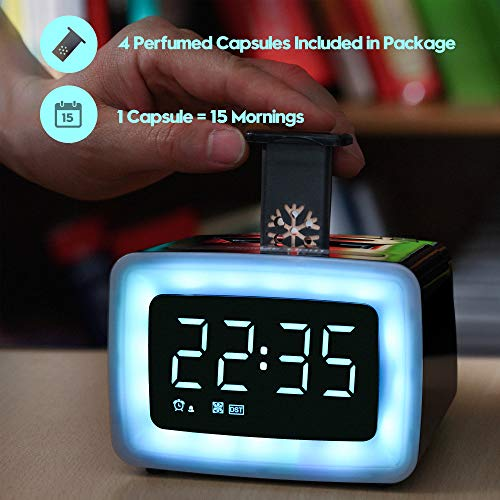 Fragrance Wake-up Alarm Clock for Bedroom, Aromatherapy Essential Oil Capsules,100% Natural Ingredients, 7 Color Night Light & 7 Ringtones, 5-Level Dimmer & Volume, DST, USB Charger, Snooze, 12/24H