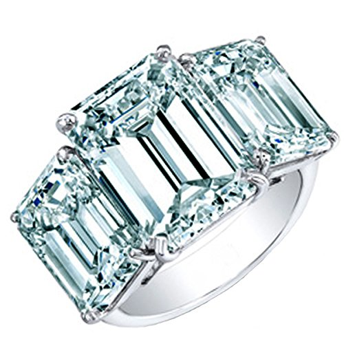 - RINGJEWEL Silver Plated Emerald Moissanite Engagement Ring Size 7 (5.60 Ct,Ice Blue White Color,VVS1 Clarity)