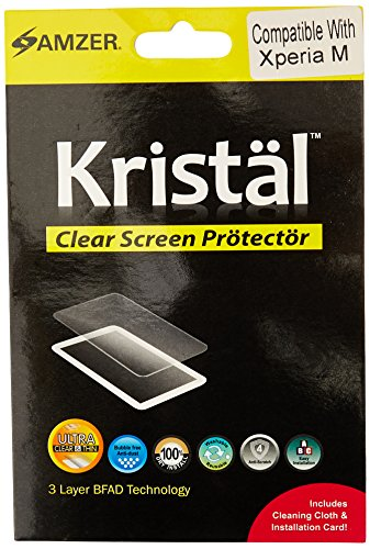 Amzer Kristal Clear Screen Protector Scratch Guard Shield for Sony Xperia M/ Sony Xperia M Dual - Retail Packaging - Clear