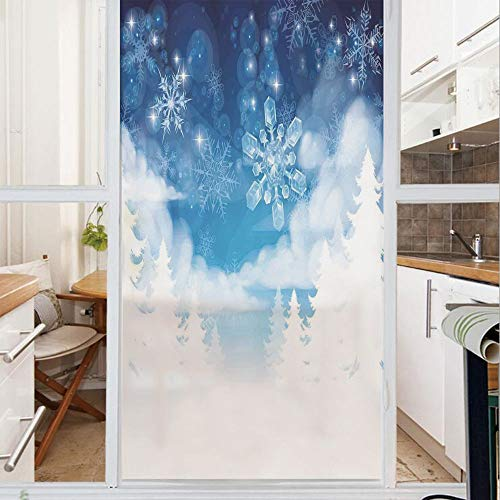(Decorative Window Film,No Glue Frosted Privacy Film,Stained Glass Door Film,Christmas Trees Setting with Snowflakes and Stars New Year Graphic Image,for Home & Office,23.6In. by 59In Blue White)