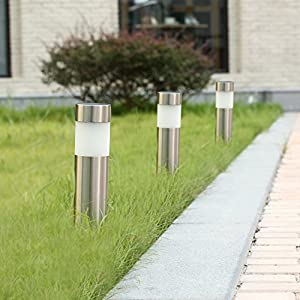 Voona Solar Bollard Lights Outdoor 6-Pack Stainless Steel Warm White LED Lights for Garden, Pathway Landscape(Silver)