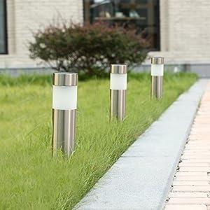 Voona Solar Bollard Lights Outdoor 6-Pack Stainless Steel Warm White LED Lights for Garden, Pathway Landscape(Silver)