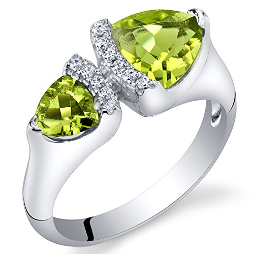 Ring Stone Genuine Peridot (Forever Us Two Stone Peridot Sterling Silver Trillion Cut Ring Size 7)