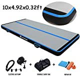 AKSPORT Air Track Gymnastics Tumbling Mat Inflatable Floor Mats with Electric Air Pump for Home/Tumble/Gym/Training/Cheerleading/Parkour 10/13/16/20/23/26/29/33ft