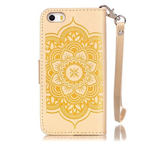 Voguecase® für iPhone SE hülle, Kunstleder Tasche PU Schutzhülle Tasche Leder Brieftasche Hülle Case Cover (Diamant/Campanula Blume/Gold) + Gratis Universal Eingabestift
