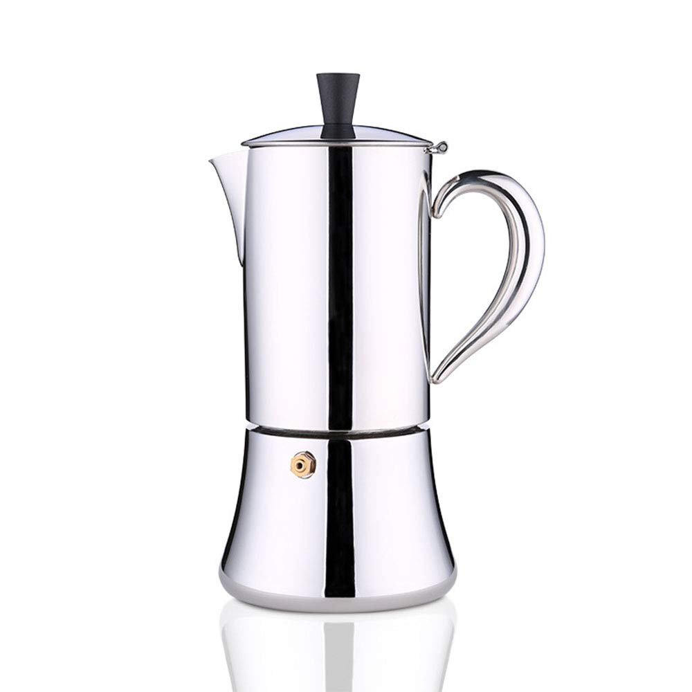 Acquisto Macchina da caffè espresso maker in acciaio inox caffettiera moka caffettiera caffettiera italiana con valvola di sicurezza,5cups Prezzi offerta
