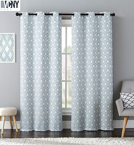 2 Pack: Victoria Classics Melbourne Jacquard Grommet Window Curtain Panels for GoodGram – Assorted Colors (Blue)