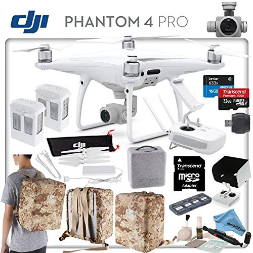 DJI Phantom 4 Pro Explorers II Bundle: Includes High Capacity Intelligent Flight Battery, Spare Battery, Backpack Case Pack - Camo Yellow, Sun Shade, High Speed 32GB MicroSD Card and More.