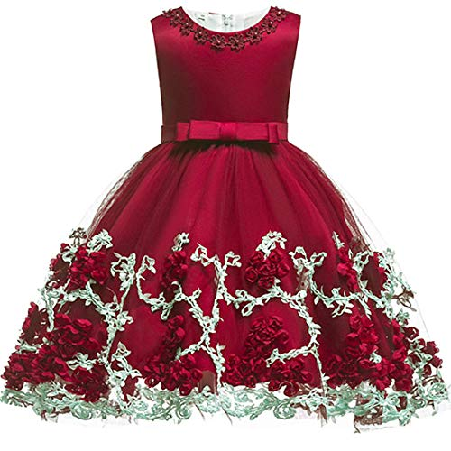 (Big Girls Formal Dresses Size 9-10 Lace Princess Special Occasion Dress Sleeveless Red Halloween Christmas Wedding Holiday Party Girl Dress 10 Years Old Elegant Ruffle Dress Knee Length (Red)