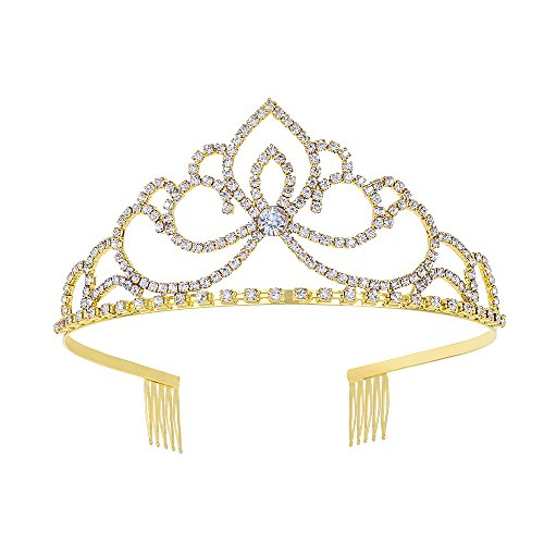 YUE DOU XIONG Rhinestones Crystal Wedding Bridal Prom Pageant Princess Gold Tiara Crown