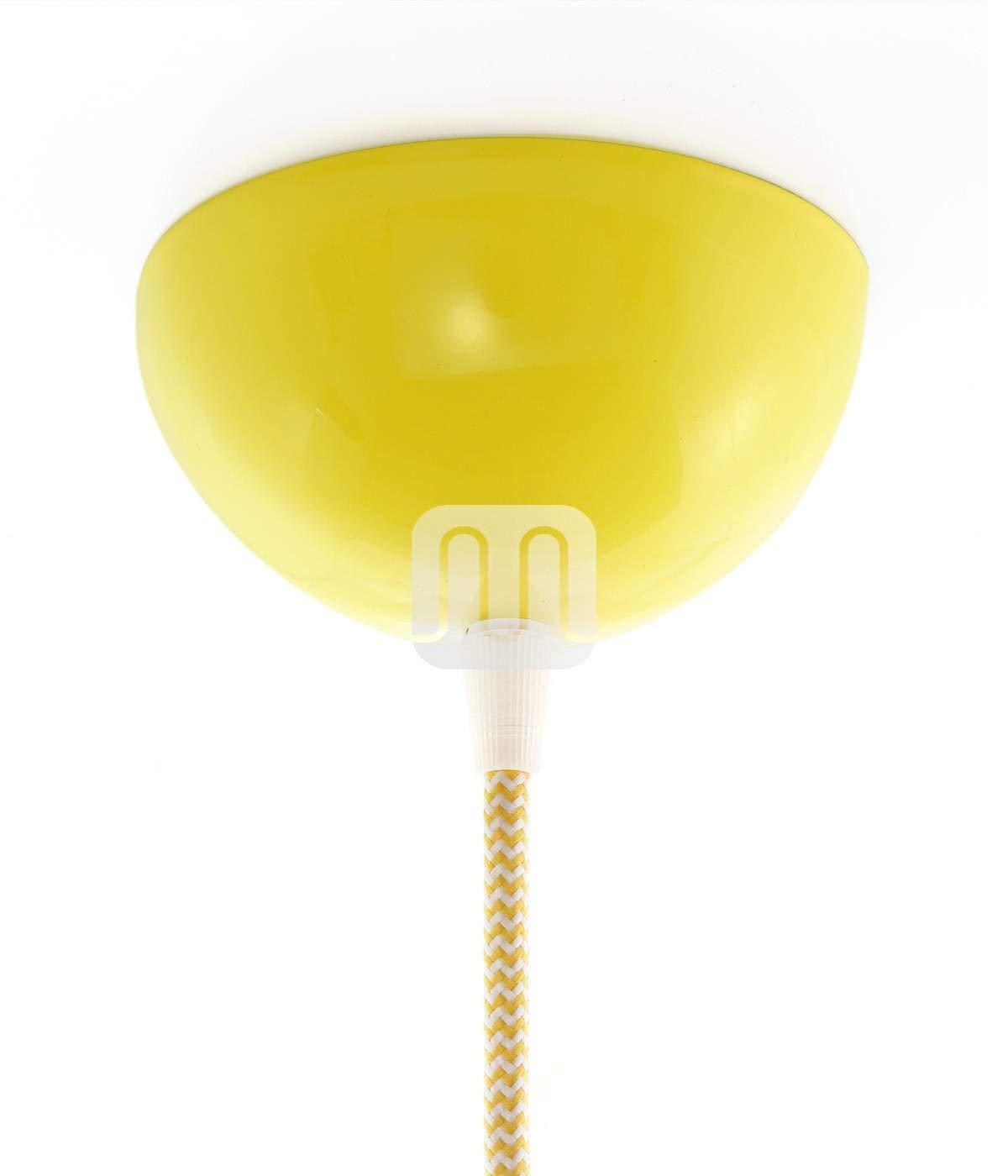 Baldachin | Abzweigdose | Verteilerdose zur Kabelabdeckung Ihrer Deckenlampe | Lampenkappe in gelb Ø 10 cm inkl Zugentlastung | Lampenbaldachin für alle Lampen geeignet Flairlux GmbH