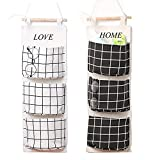 Wall Mounted 3 Bags Storage Bag Over the Door Storage Pockets Fabric Wall Door Closet Hanging Storage Bag Organizer 2 Packs for Room Toilet (Black+white)