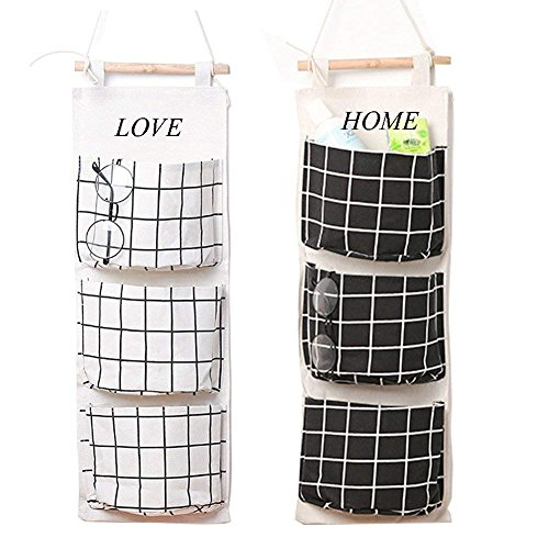 (Wall Mounted 3 Bags Storage Bag Over the Door Storage Pockets Fabric Wall Door Closet Hanging Storage Bag Organizer 2 Packs for Room Toilet (Black+white))