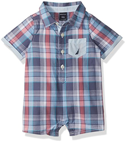 Nautica Baby Boys' Short Sleeve Button Down Romper, Coral, 3/6 Months