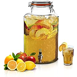 Large Glass Beverage Dispenser by Emenest | 2.4 Gallons | Stainless Steel Leak Free Spout Included | Home Bar & Party Serveware |Airtight Clamp Lid | Food Safe