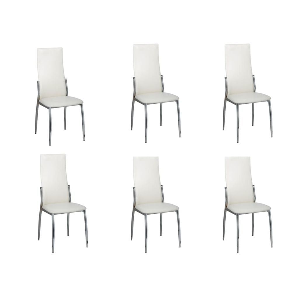 VidaXL 6x Esszimmerstuhl Chrom Kunstleder Weiß Stuhlgruppe Küchenstuhl Stuhl