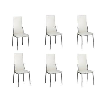 vidaXL 6x Sillas de Salón Comedor de Cuero Artificial Blanco y Patas de Metal: Amazon.es: Hogar