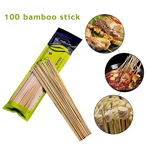 AIMERKUP BBQ Bamboo Stick Barbecue Camping Skewers Kebab Stick Shish Stick 100PCS Comfortable Respectable