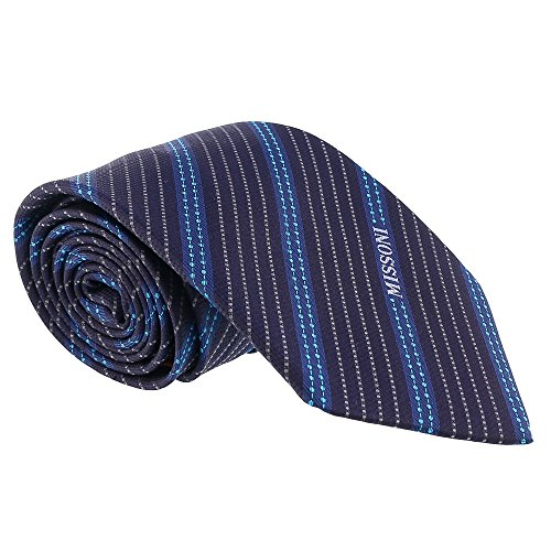 - Missoni Multi Stripe Blue Woven 100% Silk Tie for mens
