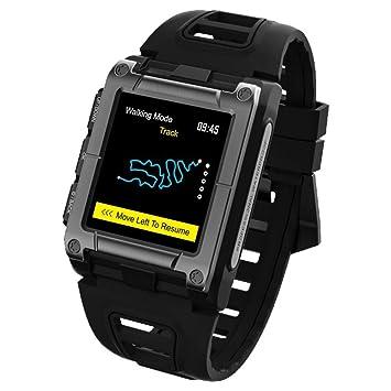 Globalqi Reloj Inteligente Profesional Reloj de Natacion GPS Frecuencia Cardiaca Pantalla a Color Tocar Nivel IP68 Impermeable Mirar Pulsera: Amazon.es: ...