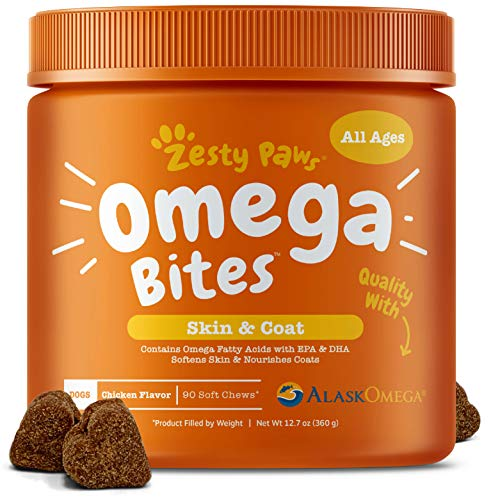 Fish Heart - Omega 3 Alaskan Fish Oil Chew Treats for Dogs - With AlaskOmega for EPA & DHA Fatty Acids - For Shiny Coats & Itch Free Skin - Natural Hip & Joint Support + Promotes Heart & Brain Health - 90 Count