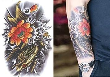 Tatuaje] * gran tamano de la carpa de oro, flor de loto ...
