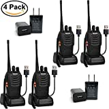 Greaval Rechargeable Long Range Walkie Talkies UHF 400-470Mhz 16 Channel Two Way Radios USB Charger Adult (4 Pack)