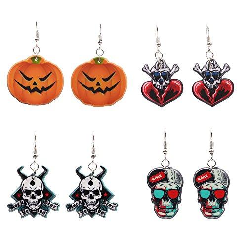FERVENT LOVE Halloween Pumpkin Earrings and Skull Earrings for Women Girls