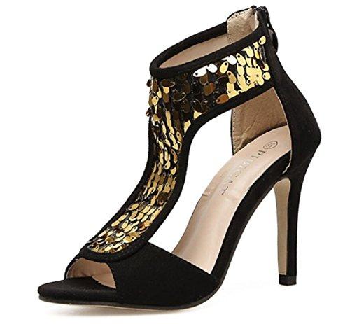 Mesdames Suede Talon Paillettes Zipper LINYI Femmes Black Sandales Stiletto P6aFHw