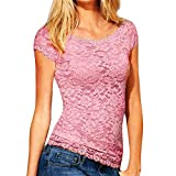 Nevera Women Blouse Casual Tops Lace Shirt Tee Lace Short Sleeve Tops Pink