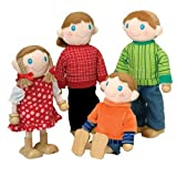 """Constructive Playthings Giant Poseable Light Skin Family of 4 Doll Set Sizes from 9"""" H. - 10 3/4"""" H; Wired Bodies to Hold a Pose and Wooden Feet for Easy Standing"""