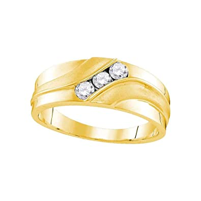 4f969d1cb0081 10k Yellow Gold Ring Mens Three Stone Diamond Wedding Band Anniversary 3  Round Channel Set 1/3 ctw