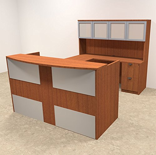 5pc U Shaped Modern Acrylic Panel Office Reception Desk, #OT-SUL-R17 by UTM