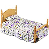 Inusitus Miniature Dollhouse Bed - Dolls House Furniture Queen Bed - 1/12 scale (Light)