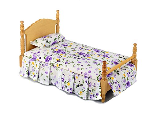 Inusitus Vintage Miniature Dolls House Bed | Queen Size | Dollhouse Accessories & Toys | 1