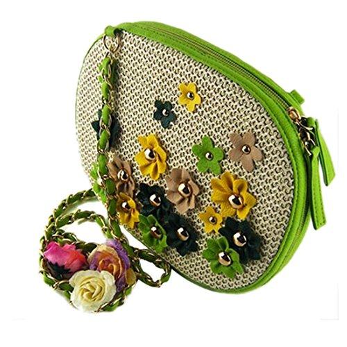 Multicolor Mujeres Hombro Verde Mini Bolsos Tejer Flor Crossbody De Los Pequena Ovales Paja d4Rwxrz4q